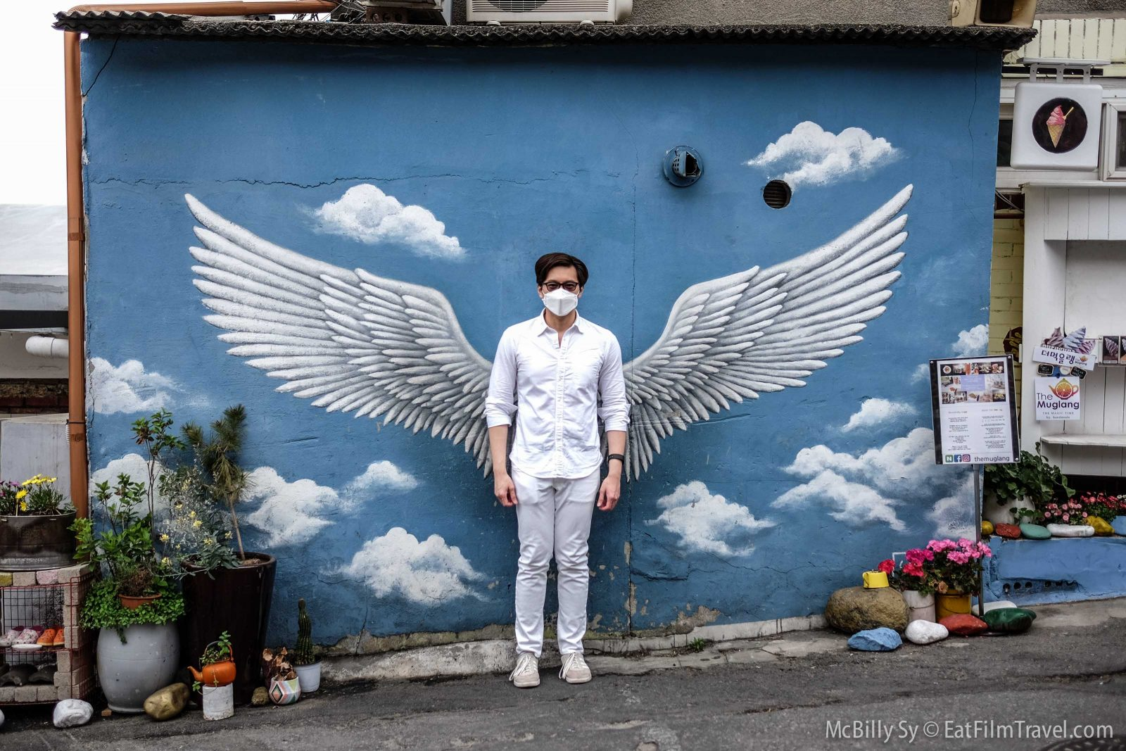 Angel wings art mural in Ihwa Mural Village