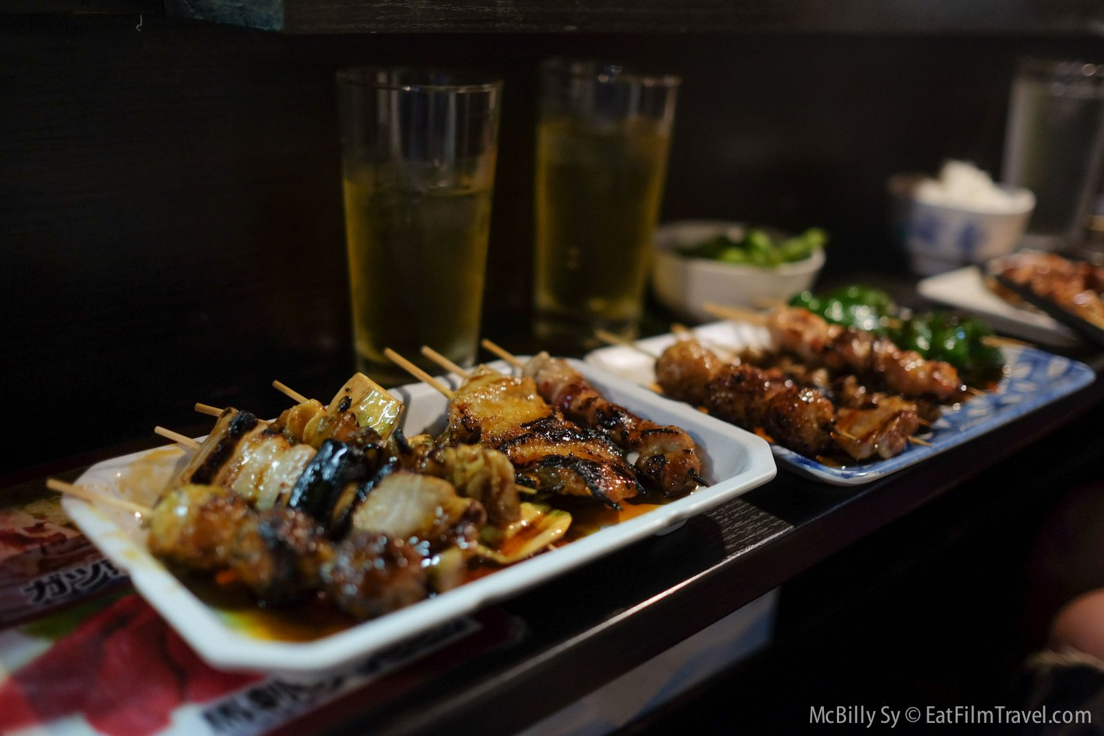 Yakitori skewers and beer