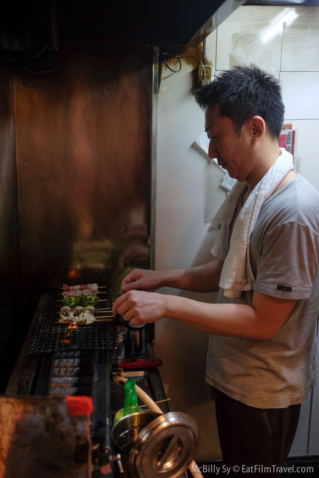 Grilling Yakitori in Yakitori Alley