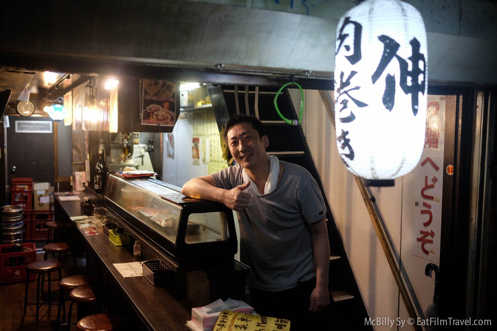 I met Nori who worked in one of the Yakitori restaurants.